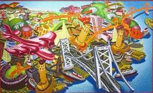 Peter Saul - View od SF Red Plane
