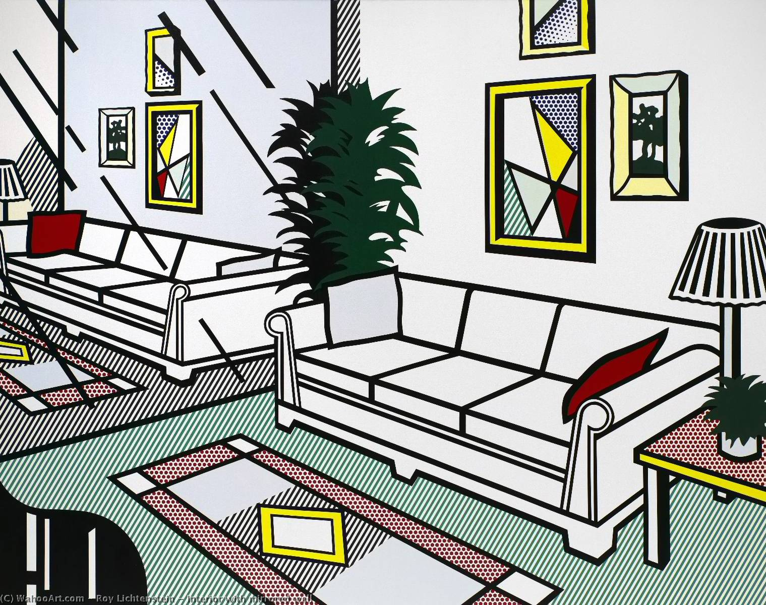 famous painting Interior with mirrored wall of Roy Lichtenstein