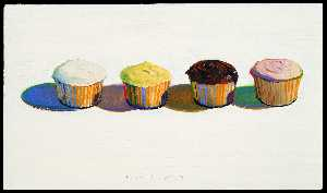 Wayne Thiebaud - Cupcake painting