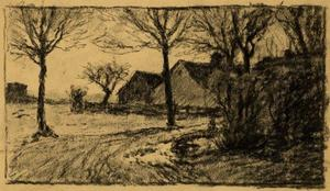 Theodore Clement Steele - Untitled drawing of lane and buildings