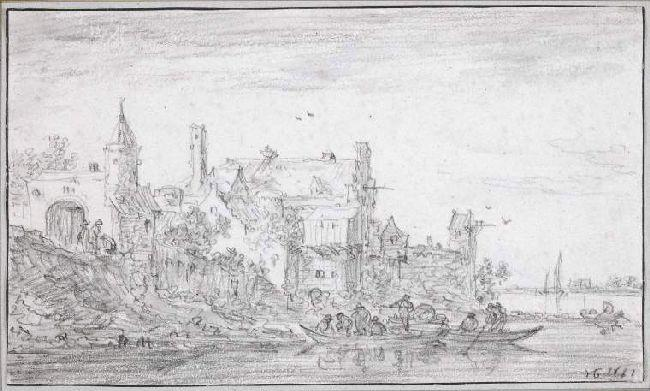 famous painting A group of buildings by a river of Jan Van Goyen
