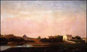 Fitz Hugh Lane - English Fitz Henry Lane Painting of Babson Alling White Ellery houses prior to the Grant Circle rotary