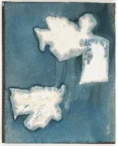 Joseph Cornell - Untitled (manila paper stained blue with black ink wash design)