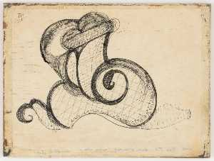 Joseph Cornell - Untitled (black ink, snail shaped doodle on typing paper)