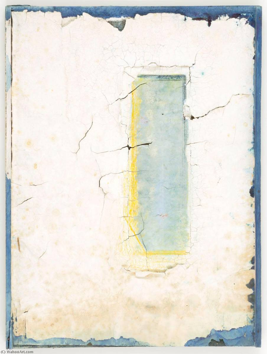 famous painting Untitled (blue and white paint with window effect) of Joseph Cornell