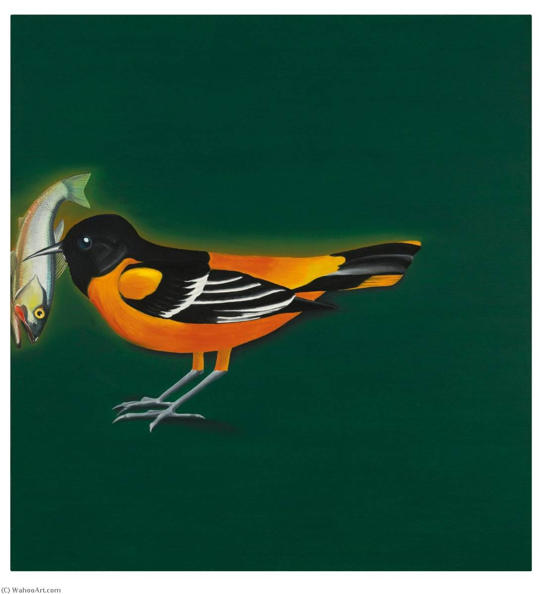 famous painting Baltimore Oriole Securing Freshwater Fish of Edward Ruscha