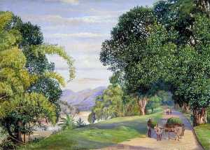 Marianne North - View at Peradeniya, Ceylon