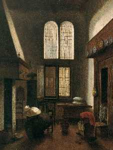 Jacobus Vrel - Interior Scene (Woman Seated by a Hearth)