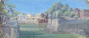 Marianne North - Great Tank at Govardhan, Delhi, India