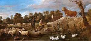 David The Younger Teniers - Landscape with Two Shepherds, Cattle and Ducks