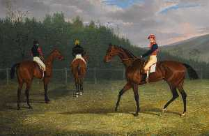 John Frederick Herring Senior - The Start of the Goodwood Gold Cup, 1831, Lord Chesterfield's Priam, His Majesty King William IV's Fleur de Lis, and Mr. Stonehewer's Variation