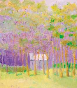 Wolf Kahn - Purple House in the Greenwood