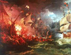 Philip Jacques De Loutherbourg - Defeat of the Spanish Armada, 8 August 1588