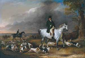 John E Ferneley I - John Burgess of Clipstone, Nottinghamshire, on a Favourite Horse, with his Harriers