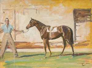 Alfred James Munnings - A Bay Racehorse with a Groom