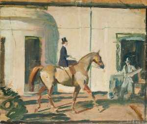 Alfred James Munnings - Study for 'Our Mutual Friend the Horse' (recto)
