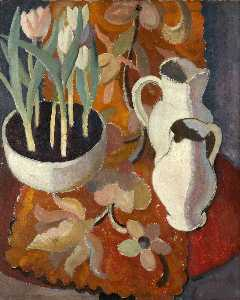 William George Gillies - Still Life, Tulips and Jugs