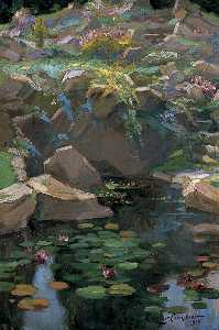 Nestor Cambier - The Rock Garden at Culham Court (right wing)