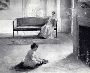 Edmund Charles Tarbell - Interior with Mother and Child, (painting)
