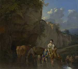 Karel Dujardin - A Woman and a Boy with Animals at a Ford