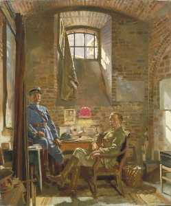 William Newenham Montague Orpen - In Their Cellar in Amiens Captain R. Maude, Department of the Army, Provost Marshal General, Awarded the Croix de Guerre by the French Authorities, and Colonel Du Tiel, Commandant d'Armes, Amiens