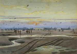 Stephen Bone - Sunset on the Normandy Beaches