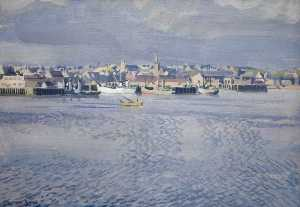 Stephen Bone - Stornoway Harbour, Evening, Minesweepers and Coasting Vessels