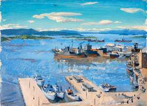 Stephen Bone - Oslo Harbour with Minesweepers