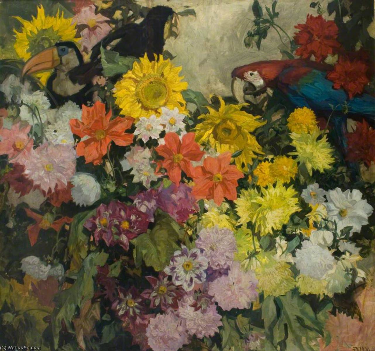 famous painting Flowers and Birds 'Dahlias' of Frank William Brangwyn