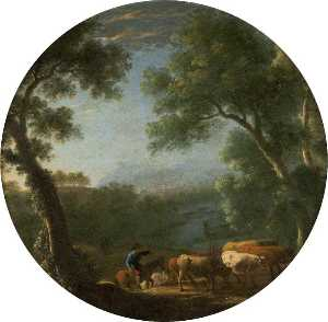 Herman Van Swanevelt - Wooded Landscape with a Horseman Driving Cattle