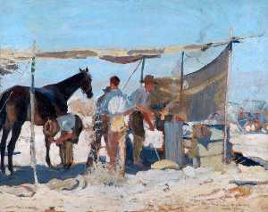 Thomas Cantrell Dugdale - Shoeing under Difficulties, the Jordan Valley Field Forge in the Jordan Valley, Shoeing 'Jimmy'