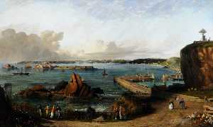 Philip John Ouless - St Aubin's Bay from Mount Bingham, 1875