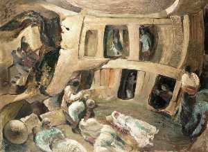 Leslie Cole - Malta, the Hypogeum People of Paula Sheltering during a Raid