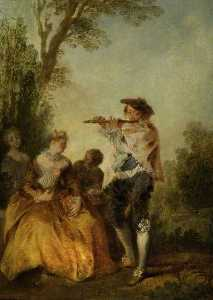 Nicolas Lancret - 'With a tender little song…'