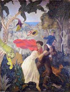 Mary Adshead - A Tropical Fantasy Charles Reilly's Dining Room Mural (panel 3 of 6)