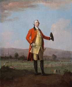 David Morier - Sir Armine Wodehouse (1714–1777), MP, Colonel of the 2nd, or Eastern Regiment of Norfolk Militia, at a Review of his Regiment near Norwich