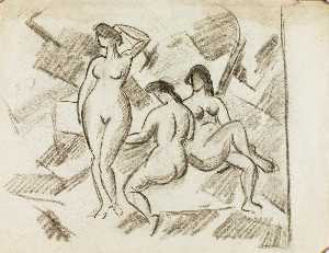 Carl Newman - Group of Three Female Nudes