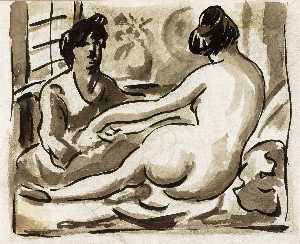 Carl Newman - Reclining Female Nude with Attendant