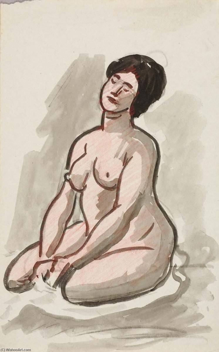 famous painting Female Nude, Sitting of Carl Newman