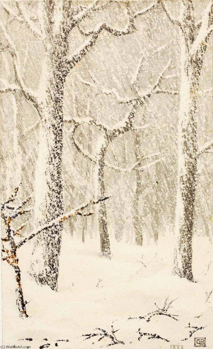famous painting Untitled (Trees in Snow) of George Elbert Burr
