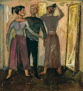 Nikos Kessanlis - Figures before a mirror