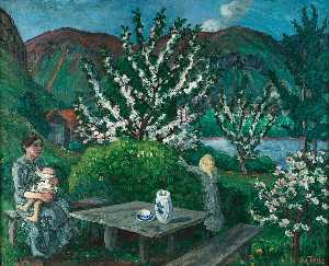 Nikolai Astrup - Mother and Child(ren ) by the Garden Table