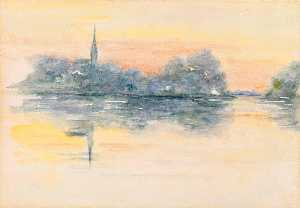 Henry Bacon - Church and Lake