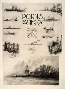 Louis Orr - Title Page (Notes from the Artist's Sketchbook), from the portfolio, Ports of America