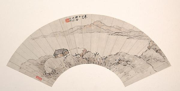 famous painting 近代 陳衡恪 山水 扇面兩幀 Landscapes of Chen Hengke