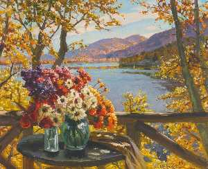 Constantin Westchiloff - Flowers by the Lake
