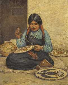 Carl Moon - Hopi Woman Weaving Plaques