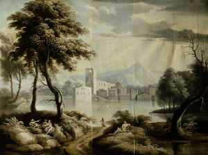 James Norie - Landscape with a Lake and Building