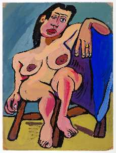 William Henry Johnson - Seated Female Nude on Brown Chair