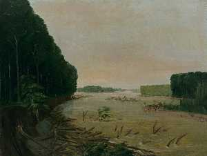 George Catlin - View on the Missouri, Alluvial Banks Falling in, 600 Miles above St. Louis